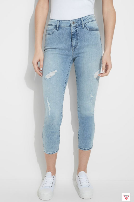 JEANS SKINNY CROP, TAILLE HAUTE